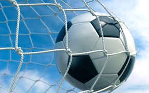 Wallpaper clouds, the sky, goal, gate, background, mesh, football, the ball