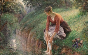 Wallpaper Camille Pissarro, stream, Young Woman Washing Feet, nature, picture, genre