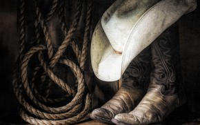 Picture hat, boots, rope, cowboy