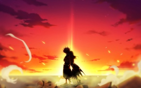 Picture sunset, anime, art, guy, Fairy Tail, Natsu, Lucy, Fairy tail, Dragneel