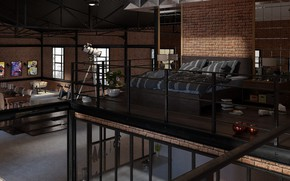 Picture furniture, interior, telescope, the room, Loft