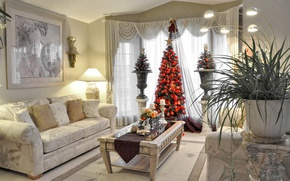 Wallpaper Christmas, tree, living room, lamp, table, holiday, New Year, picture, sofa, vase