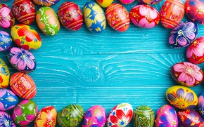 Picture spring, colorful, Easter, wood, spring, Easter, eggs, decoration, Happy, the painted eggs