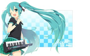 Picture microphone, vocaloid, Hatsune Miku, long hair, Vocaloid, synth, wink, singing, two tails, keyboards, chess square