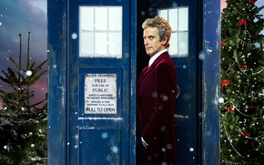 Picture look, snow, tree, new year, Christmas, actor, male, booth, christmas, Doctor Who, Doctor Who, The …