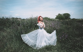 Picture girl, mood, dress, meadow