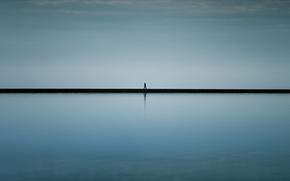 Picture sea, fog, people