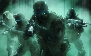 Wallpaper rendering, weapons, soldiers, helmet, crysis, squad, nanosuit, Crytek, warface, power armor, active camouflage