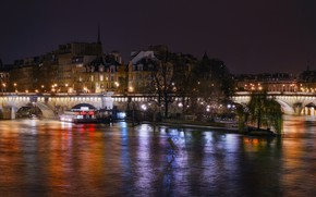 Picture night, lights, river, lighting, Square du Vert-Galant