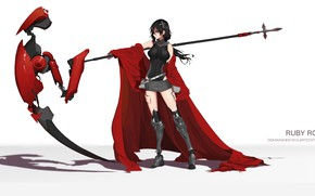 Wallpaper girl, weapons, braid, RWBY