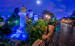 Picture Lights, Night, The city, Castle, Disneyland
