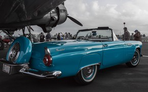 Picture retro, Ford, classic, the airfield, 1956, Thunderbird