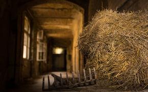 Picture the barn, hay, bokeh, rake