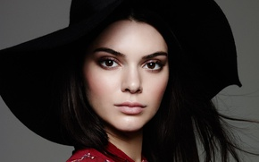 Picture look, face, model, portrait, hat, brunette, Kendall Jenner