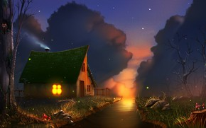 Wallpaper sunset, stones, the light in the window, stream, starry sky, wooden house, fireflies, Amanita, the ...