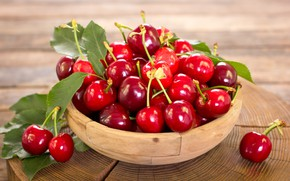 Picture berries, basket, fresh, cherry, fruit, ripe, cherry