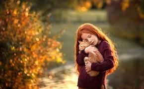 Wallpaper kitty, hair, girl, red