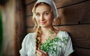 Picture girl, green eyes, long hair, photo, flowers, model, braid, lips, face, blonde, smiling, shirt, portrait, …