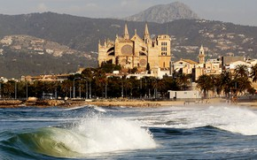 Picture sea, mountains, home, Palma, Cathedral, Spain, Balearic Islands, Palma de Malorca