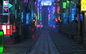 Picture street, the sidewalk, Blade Runner Future City