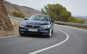 Picture movement, turn, BMW, slope, sedan, xDrive, 530d, Luxury Line, 5, dark blue, four-door, 2017, 5-series, …