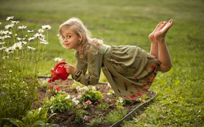 Wallpaper dress, flowerbed, levitation, mood, chamomile, lake, the situation, look, girl, flowers