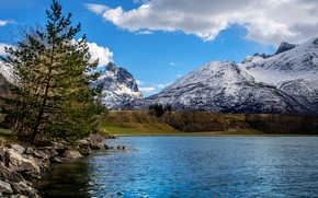 Picture the sky, clouds, trees, mountains, lake, stones, Norway, Andalsnes