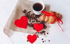 Picture love, heart, coffee, grain, Cup, love, heart, cup, romantic, beans, coffee, growing, croissant, with love