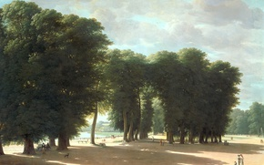 Picture landscape, oil, picture, canvas, Peter Rudolf Klein, The entrance to the Park of Saint-cloud in …