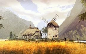 Wallpaper field, summer, mountains, mill, house