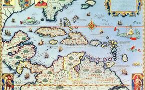 Picture map, Caribbean Islands and Florida, Theodore de Bry