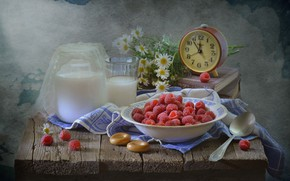Picture summer, raspberry, alarm clock, still life, the competition