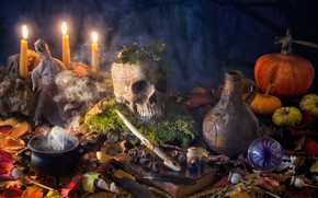 Picture leaves, bubbles, magic, Mac, skull, moss, candles, doll, feathers, pumpkin, Halloween, Halloween, bowler, book, pitcher, ...