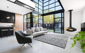 Picture living room, interior, fireplace, Northcote Home, Villa