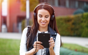 Wallpaper headphones, tablet, Smile