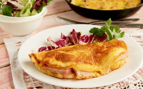 Picture eggs, salad, omelette