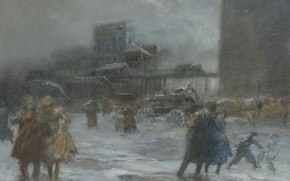 Wallpaper picture, the urban landscape, Everett Shinn, Cooper Square, Everett Shinn