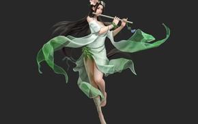 Picture girl, fantasy, flute