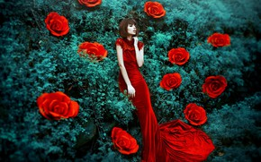 Wallpaper style, flowers, girl, mood, Maria Eugenia, roses, red dress