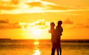 Picture sunset, the ocean, the evening, glasses, pair, champagne, two