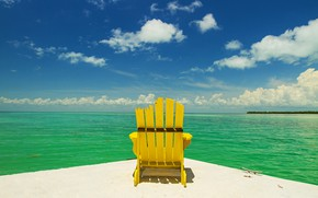 Picture sea, summer, the sky, chair