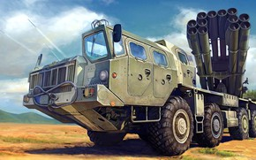 Picture Tornado, MLRS, 9K58, Russian jet system of volley fire, 300 mm