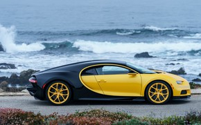 Wallpaper Chiron, 2018, coast, Bugatti, Yellow and Black