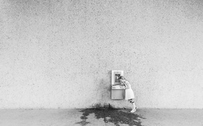 Picture water, wall, girl