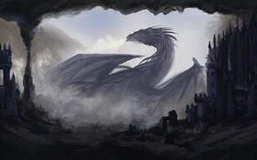 Picture darkness, dragon, home, fantasy, art, profile