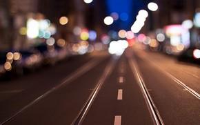 Picture city, lights, evening, street, traffic, far away, blur bokeh effect, dividing line