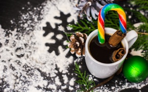 Picture branches, toy, ball, Cup, drink, candy, cinnamon, bump, spices, powder