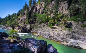 Picture trees, mountains, river, rocks, Colorado, canyon