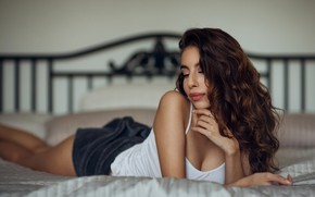 Picture girl, shorts, bed, Mike, brown hair, curls, Misho Jovicic
