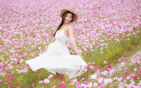 Picture field, girl, joy, flowers, dress